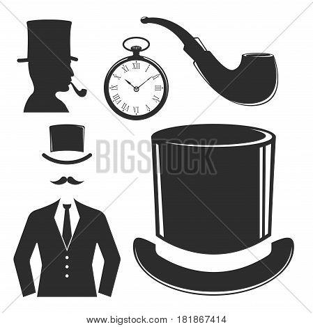 Vintage style design hipster gentleman symbol vector illustration antique graphic design retro element. Premium quality man shop classic fashion moustache club barber sign black silhouette.