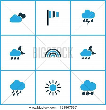 Meteorology Colored Icons Set. Collection Of Cold Weather, Cloudy Sky, Thunderstorm And Other Elements. Also Includes Symbols Such As Blizzard, Wind, Cold.