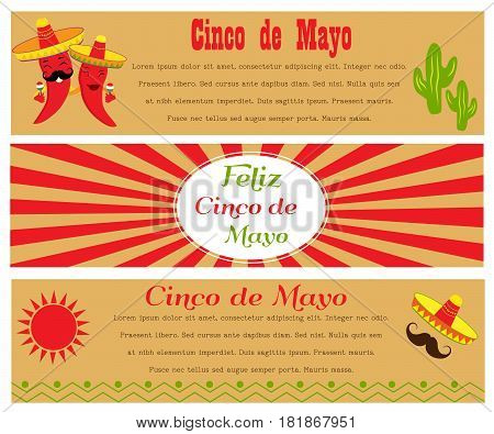 Banners for Cinco De Mayo. Poster design with available place for holiday celebration at a bar, restaurant or other venue