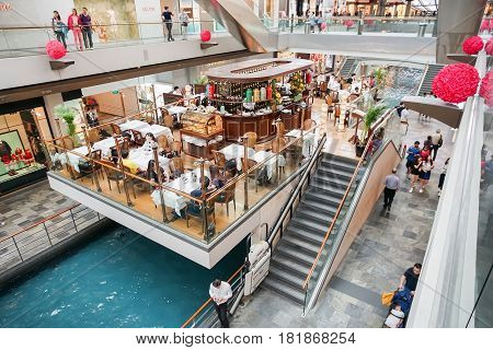 MARINA BAY SINGAPORE - JAN 20 2017: The Shoppes at Marina Bay Sands is a famous shopping center of Singapore travel destination.