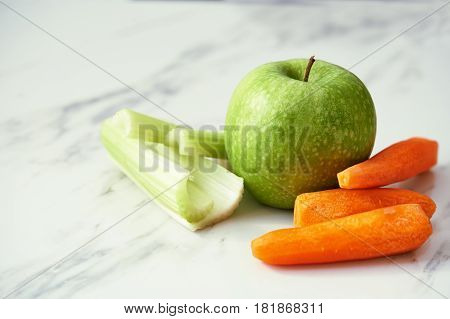 Fruits And Vegetables On Marble