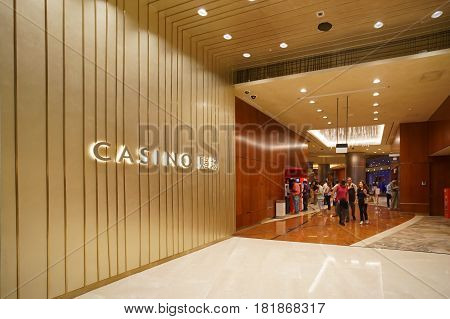 MARINA BAY SINGAPORE - JAN 20 2017: Marina Bay Sands Casino is the world's most expensive stand alone casino and represents a US$5.7 billion investment by Las Vegas Sands Corporation.