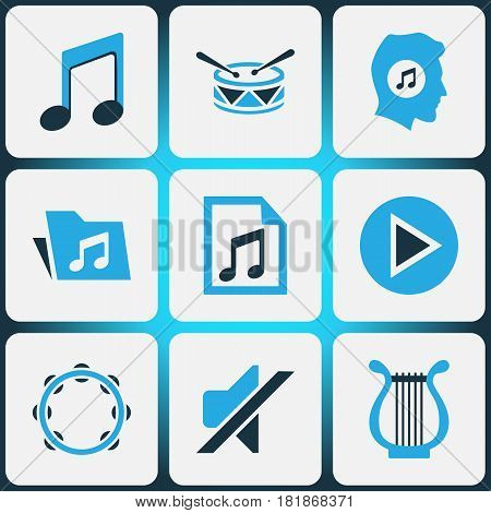 Multimedia Colored Icons Set. Collection Of Mute, Tambourine, Harp And Other Elements. Also Includes Symbols Such As Tambourine, Harp, Silent.