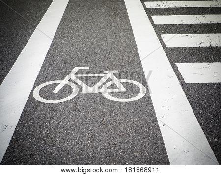 Bike lane, road for bicycles. empty bicycle lane