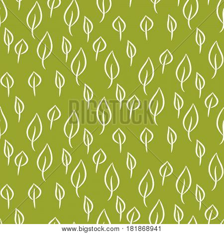 Foliage line seamless vector pattern on green background. Nature leaf background.