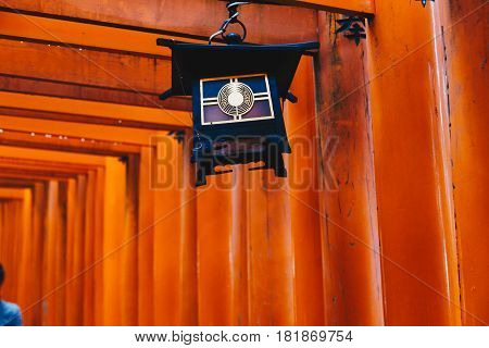 Red Wooden Tori Gate At Fushimi Inari Shrine In Kyoto