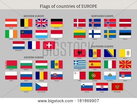 Set of national European flat flags. Countries symbols of Europe: Spain, Germany and Switzerland, Norway, Russia and Slovakia, Austria and Bulgaria. Vector icons isolated on white background.