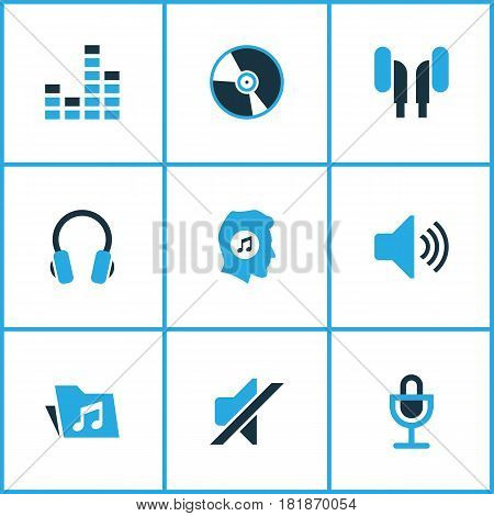 Audio Colored Icons Set. Collection Of Music Lover, Microphone, Mute And Other Elements. Also Includes Symbols Such As Earphone, Mike, Microphone.