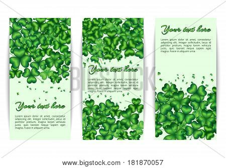 Set of banners with spring floral patterns. Background with shamrocks to celebrate Saint Patricks Day.