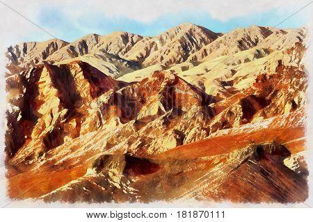 Colorful painting of Flaming Mountains, Xinjiang Uyghur Autonomous Region, China