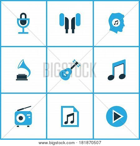 Music Colored Icons Set. Collection Of Microphone, Gramophone, Guitar And Other Elements. Also Includes Symbols Such As Earphone, Antique, Gramophone.