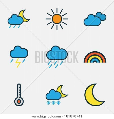 Meteorology Colored Outlines Set. Collection Of Moonbeam, Hazy, Rainbow And Other Elements. Also Includes Symbols Such As Thunderstroke, Overcast, Cloudy.