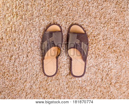 Leather men's slippers stand in the middle of a beige fleecy carpet