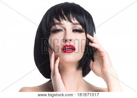 Sensual glamour portrait of beautiful woman model lady with evening makeup with red lips isolated on white background