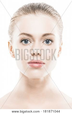 Portrait of young woman with perfect skin and big lips isolated on white background