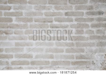 Background - an unpainted plastered wall on which white contours of bricks are visible
