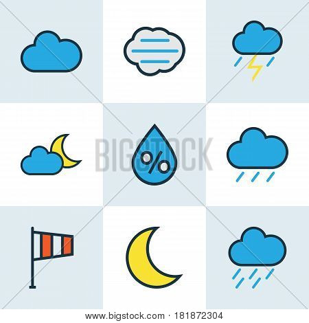 Climate Colored Outlines Set. Collection Of Hail, Cloudy Day, Raindrop And Other Elements. Also Includes Symbols Such As Flag, Hazy, Storm.