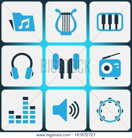 Music Colored Icons Set. Collection Of Harp, Mixer, Volume And Other Elements. Also Includes Symbols Such As Tuner, Earmuff, Percussion.