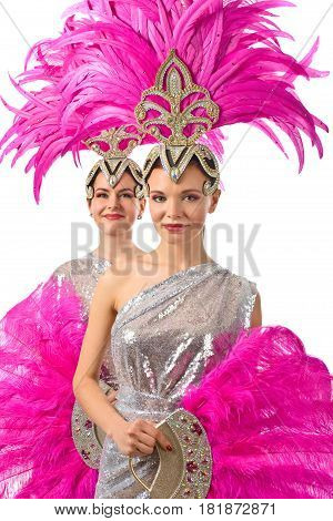 Beautiful Girls In Carnival Costumes, Isolated On White Background.