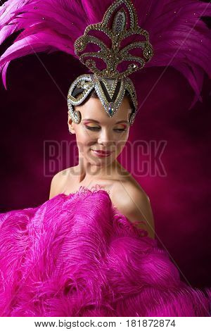 Beautiful Girl In Carnival Costume With Pink Feathers.