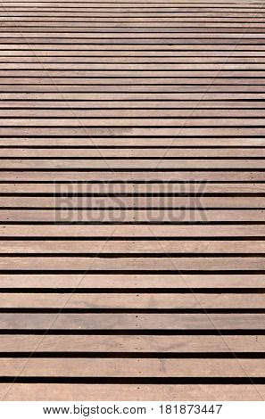 Brown wood slat floor fasten with nail