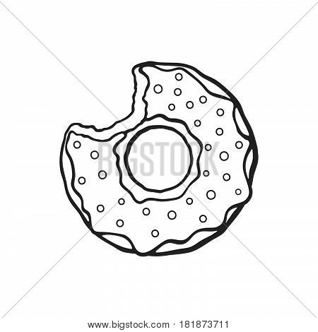 Vector illustration. Hand drawn doodle of bitten donut with glaze and powder. Cartoon sketch. Decoration for greeting cards posters emblems wallpapers menus..doodle vector bitten donut doughnut dessert glaze powder bakery menu hand drawn isolated contour
