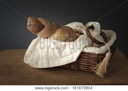 Braided Bread In A Wicker Basket On The Table