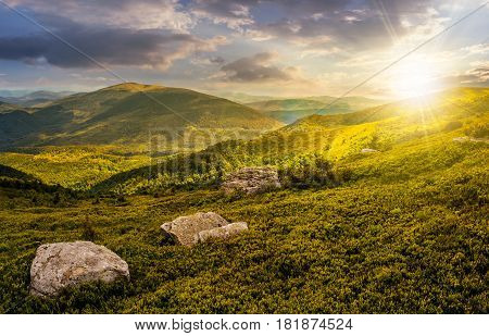 huge stones among the grass on top of the hillside meadow near the edge of a mountain. vivid summer landscape at sunset