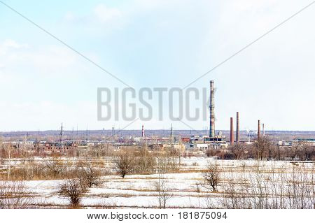 The image of an abandoned factory. The view from afar