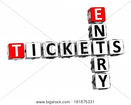 3D Ticket Entry Crossword On White Background
