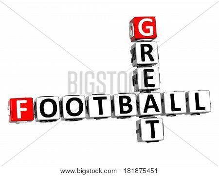 3D Football Great Crossword On White Background