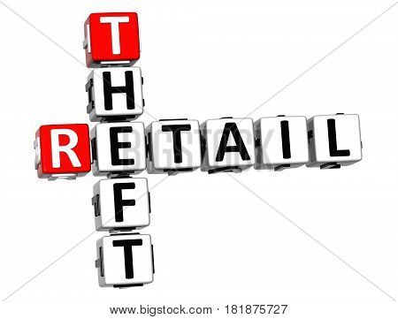 3D Retail Theft Crossword On White Background