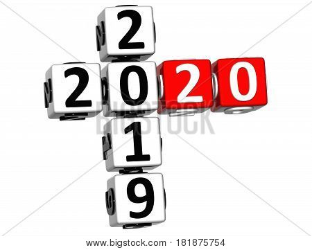 3D Happy New Year 2020 Crossword On White Background