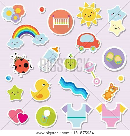 Baby stickers. Kids children design elements for scrapbook. Decorative vector icons with toys clothes sun rattle and other cute newborn babies symbols