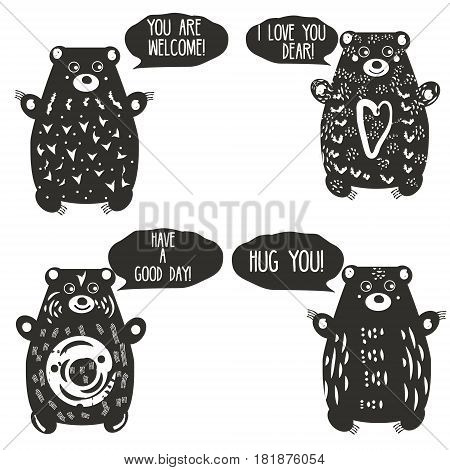 Cute bears in artistic linocut style. Woodcut hand drawn animals characters with romantic speech bubbles. Design elements for labels love decoration postcards