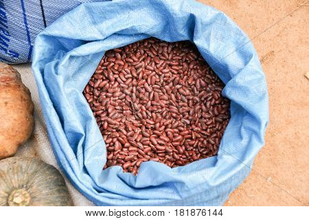 Red beans sold in at fresh market