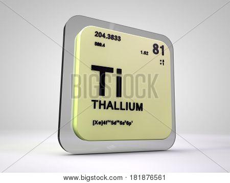 thallium - Ti - chemical element periodic table 3d render