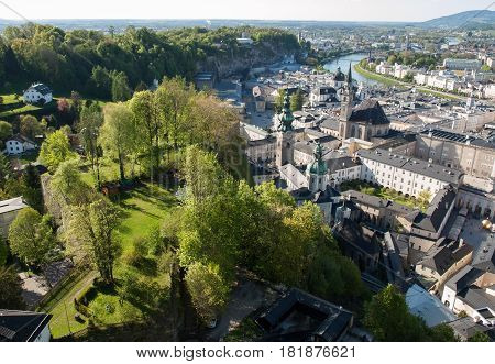 Top view of the Salzach river and the old city in center of Salzburg Austria from the walls of the fortress / Festung Hohensalzburg /