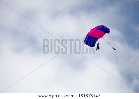 Russia, Perm, June 2014. Military parachutists at the festival Wings of Parma - 2014 in Perm at the airfield Sokol