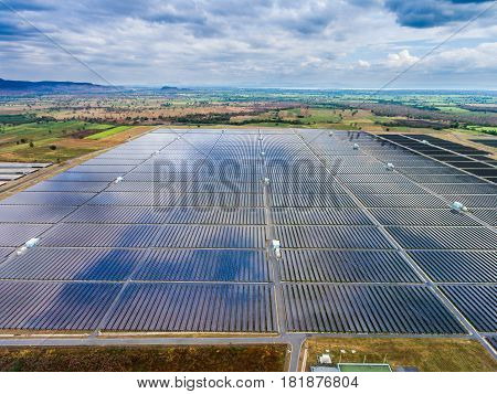 Aerial View Solar Farm , Solar Panels