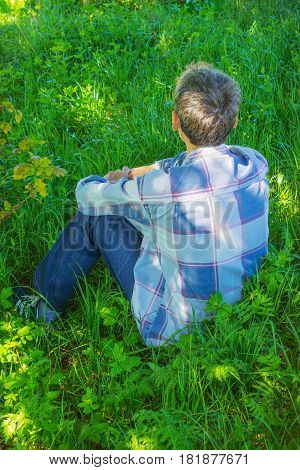 Young Man Is Resting In The Shade