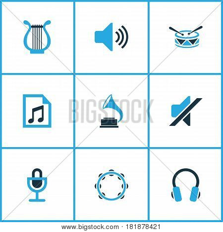 Audio Colored Icons Set. Collection Of Drum, Gramophone, Playlist And Other Elements. Also Includes Symbols Such As Headphone, Volume, Microphone.