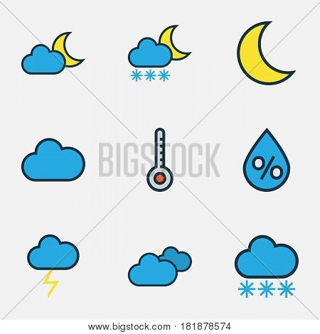 Climate Colored Outlines Set. Collection Of Snowing, Cloudy Day, Raindrop And Other Elements. Also Includes Symbols Such As Overcast, Thermometer, Snowing.