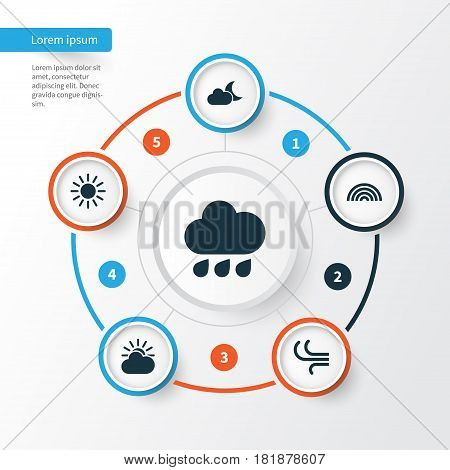 Weather Icons Set. Collection Of Breeze, Colors, Moonlight And Other Elements. Also Includes Symbols Such As Night, Colors, Breeze.