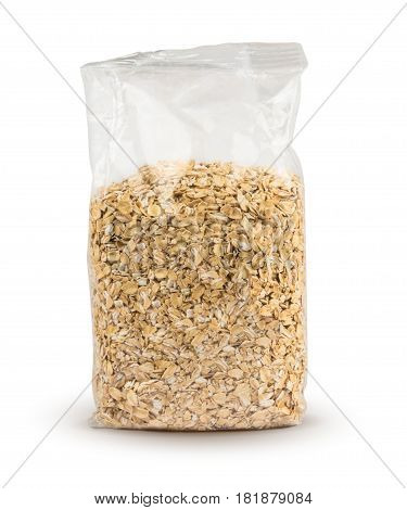 Plastic bag of oatmeal isolated on white background with clipping path. Oatmeal in package. Mockup.