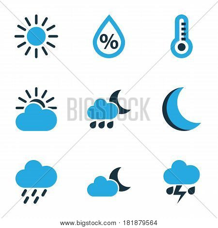 Nature Colored Icons Set. Collection Of Thermometer, Rainstorm, Night And Other Elements. Also Includes Symbols Such As Cloudy, Night, Cloud.