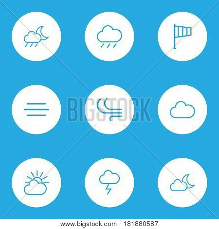 Nature Outlines Set. Collection Of Cloud Sky, Stormy, Windsock And Other Elements. Also Includes Symbols Such As Thunderstorm, Windsock, Weather.