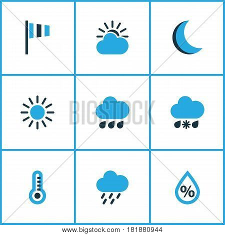 Meteorology Colored Icons Set. Collection Of Wind Speed, Overcast, Humidity And Other Elements. Also Includes Symbols Such As Percent, Rain, Snow.