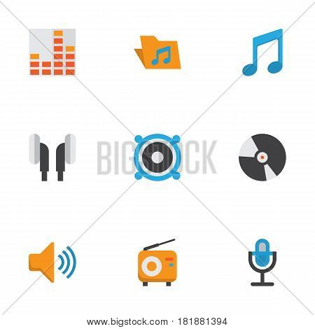 Music Flat Icons Set. Collection Of Tone, Loudspeaker, Audio And Other Elements. Also Includes Symbols Such As Mic, Earpiece, Musical.