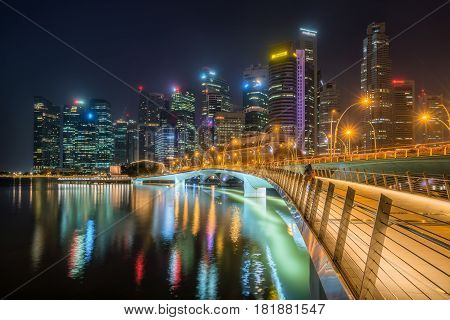 Singapore Skyline At Night From Marina Bay